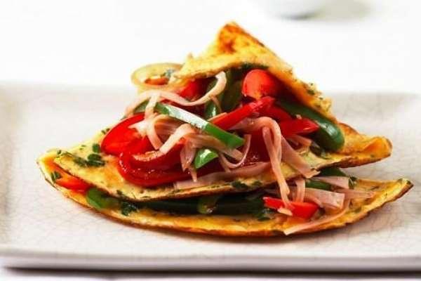 Capsicum and Lean Ham Omelette