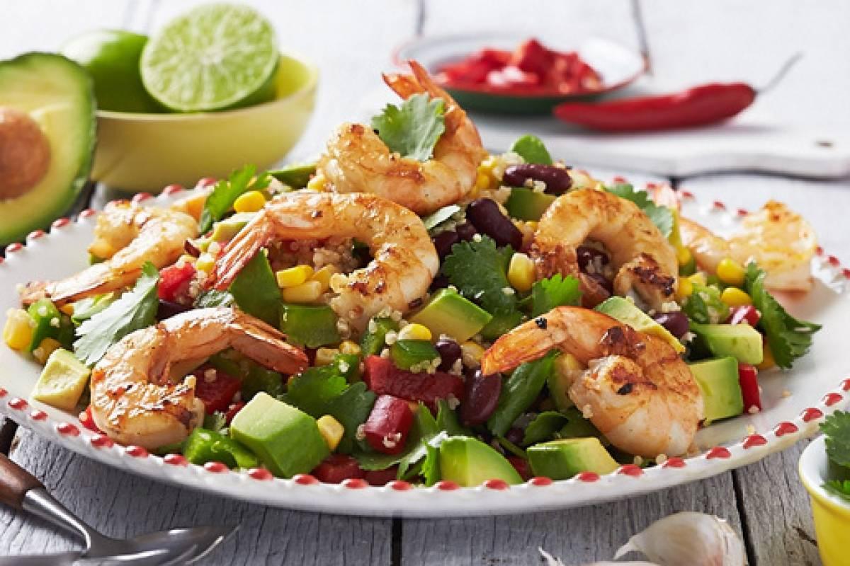 Mexican prawn quinoa salad