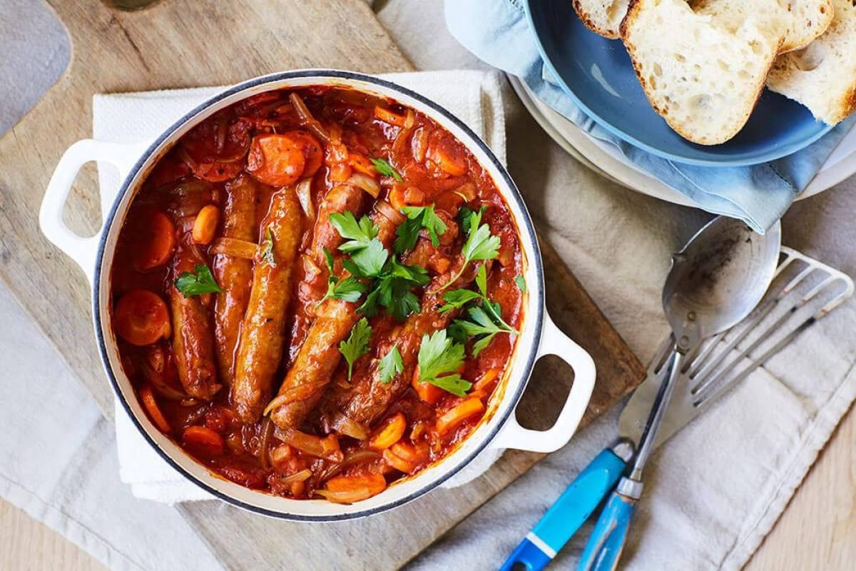 Tomato sausage bake recipe