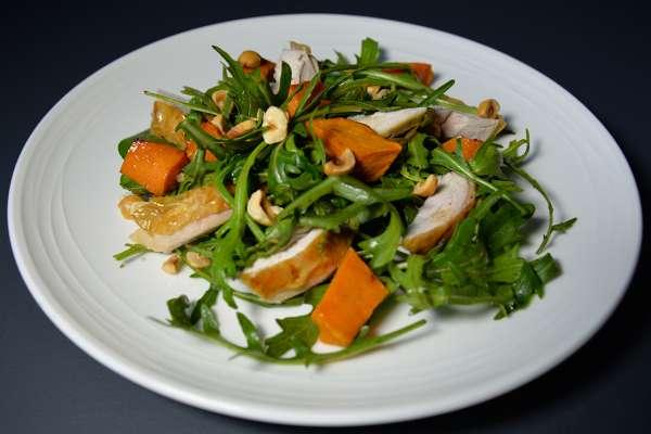 Warm Spinach & Rocket Salad with Pumpkin & Hazelnuts