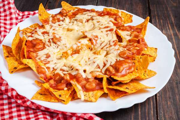 Nachos with Baked Beans
